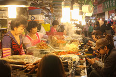 Food stalls in Gwangjang Market, Seoul, Korea. Stock Photos