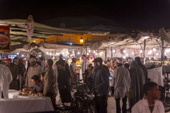 Food stalls at Marrakesh main square Stock Photos