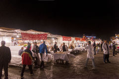 Food stalls in Marrakesh main square at night Stock Photography