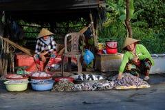 Food stalls, outdoor fish market Stock Photo