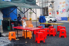 The food stalls in the street Industrial Zone Royalty Free Stock Images