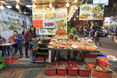Food stalls in Temple Street, Hong Kong. Hong Kong - China, 14 January, 2016: Food stalls in Temple Street, Hong Kong Stock Image