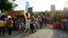 Food stalls in Ueno park attracted families stock image