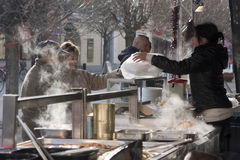 Food stand at the festival of funeral the winter Royalty Free Stock Photos