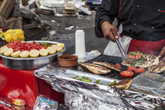 Food stand with fish sandwich. Istanbul Food stand with fish sandwich stock photo
