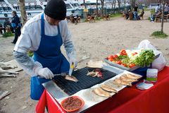 Food stand with fish sandwich Royalty Free Stock Photo
