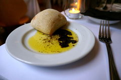 Food starter. Starter of bread and olive oil Royalty Free Stock Photography