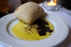 Food starter. Bread olive oil and balsamic vinegar Royalty Free Stock Images