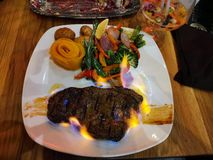 Food Steak on Fire royalty free stock photos