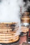 Food steamer. Jiuliang cake in food steamer.This photo was taken in Shendu town,Shexian County (in Anhui Province),china.Photo taken on:Jun 13th,2015 Royalty Free Stock Photos