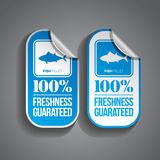 Food Sticker Fish. Fish fillet food sticker with 100% freshness guaranteed stamp Royalty Free Stock Photography