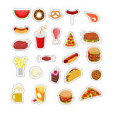 Food sticker set. Signs meat. feed Icon Collection. Pizza and ta Stock Images