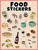 Food sticker set. Stickers, pins, patches and labels collection in cartoon comic style royalty free illustration