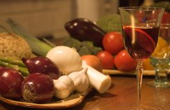 Food Still. Winw glass on a vintage restaurant table. Focus on the glass stock image