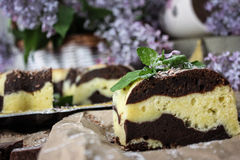 Food still life. A cut piece of chocolate-cream cake in the foreground on kraft paper trimmed with mint sprig and uncut cake in the background with lilac Royalty Free Stock Photos