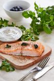Food still life photography of salmon fillet, Tartar sauce and b Stock Image