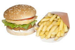 Food Stock chicken burger and chips Stock Photography