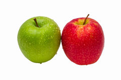 Two apples of green and red color with drops of wa Stock Images