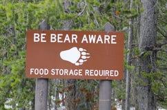 Food Storage for Bear sign Stock Photos
