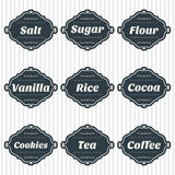 Food storage labels. Kitchen food storage tags collection Royalty Free Stock Photos