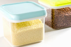 Food storage. Plastic containers. Royalty Free Stock Photo