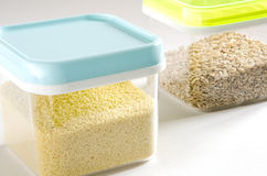 Food storage. Plastic containers. Stock Photos