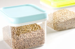 Food storage. Plastic containers. Royalty Free Stock Images