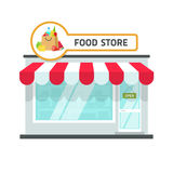 Food store building vector illustration, grocery shop facade storefront. Food store building vector illustration isolated on white background, grocery shop Stock Photos