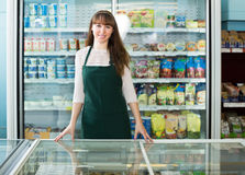 Food store employee at the workplace Royalty Free Stock Image