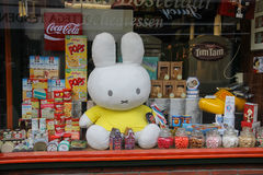 Food store show window with a large inflatable hare in Utrecht, the Netherlands Royalty Free Stock Images