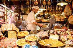Food store showcase in Bologna Royalty Free Stock Photography