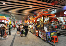 Food street with crowds. Crowds buying and walking around food booth,dongmen food street ,shenzhen,china Royalty Free Stock Photos