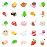 Food on the street icons set, isometric style Royalty Free Stock Image