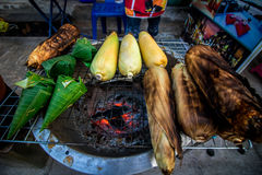 Roasted corn. Street food that people love to eat delicious food tastes delicious. At Chom, to taste food that has never seen Royalty Free Stock Image