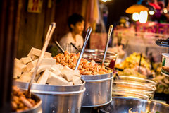 Pork and hot dogs. Street food that people love to eat delicious food tastes delicious. At Chom, to taste food that has never seen Royalty Free Stock Image