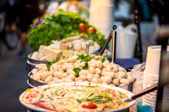 Fish ball. Street food that people love to eat delicious food tastes delicious. At Chom, to taste food that has never seen Royalty Free Stock Photo