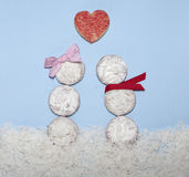 Food styled as valentine snowmen in love Royalty Free Stock Photo