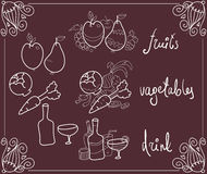 Food in styled blackboard menu Stock Images