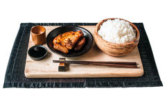 Food Stylish of rice and pork fried isolated Royalty Free Stock Photography