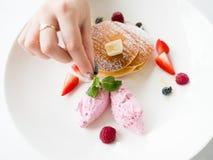 Food stylist creative art fancy dessert. Food stylist. Sweet tasty dessert. Art and creativity concept Royalty Free Stock Images