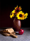 Food and sunflowers. Stock Photos