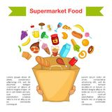 Food supermarket bag concept, cartoon style Stock Image