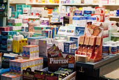 Food supplements shop. Food and dietary supplements in a shop Stock Image