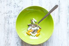 Food supplements. Vitamins and dietary supplements for a good nutrition Stock Photography