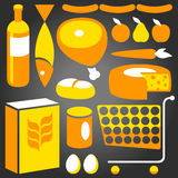 Food Supplies. Illustration of assorted basic food supplies from a supermarket Stock Photo