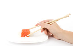 food Sushi in hand Royalty Free Stock Image