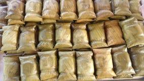 Food. Sweet glutinous-rice-steamed banana-leaf stock photo