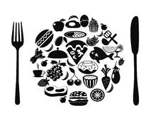 Food symbol of food icons. The food symbol formed with food icons for your design Stock Photography