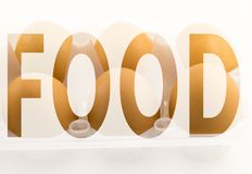 Food in the symbol. Food in a symbol on a white background stock image