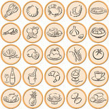 Food symbols. Round orange circles with plastic border and black food symbols Stock Image